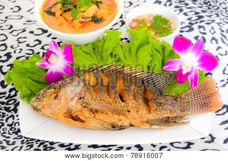 Tilapia Fish Fried In The Dish
