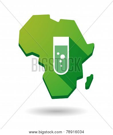 Africa Continent Map Icon With A Chemical Test Tube