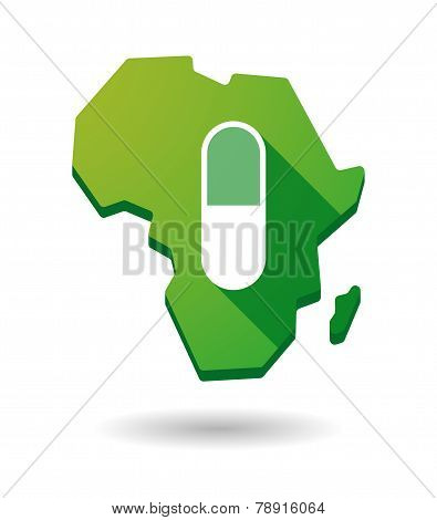 Africa Continent Map Icon With A Pill