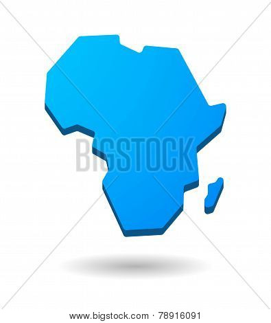 Blue Africa Continent Map Icon