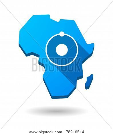 Africa Continent Map Icon With An Atom