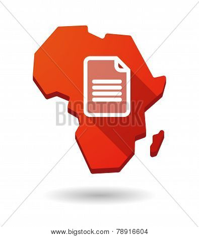 Africa Continent Map Icon With A Document