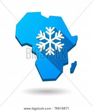 Africa Continent Map Icon With A Snow Flake