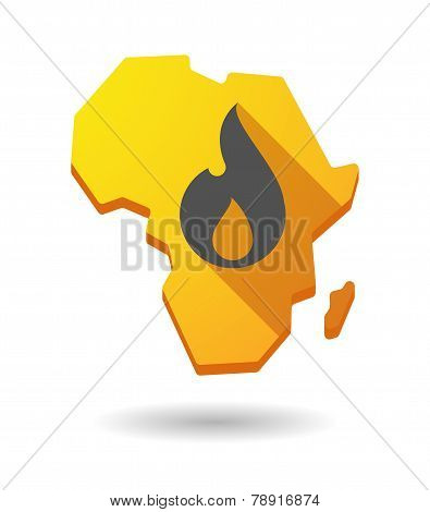 Africa Continent Map Icon With A Flame