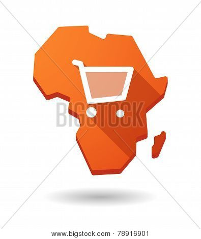 Africa Continent Map Icon With A Shopping Cart