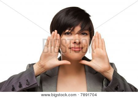 Pretty Smiling Multiethnic Young Adult Woman Framing Face With Hands
