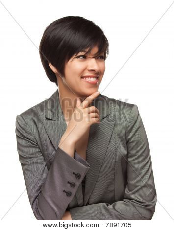 Pretty Smiling Multiethnic Young Adult Woman On White