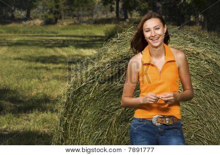Teenage Girl Smiling Outside