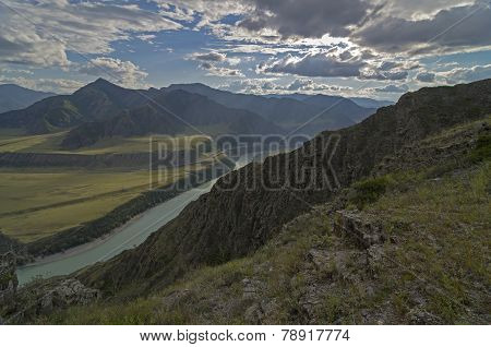 Mountain Ranges In The Evening Sun. Altai, Russia