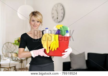 Woman with detergent