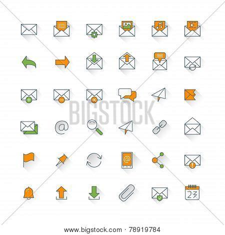 Email Flat Design Icon Set. Envelope, Link, Download, Calendar, Send