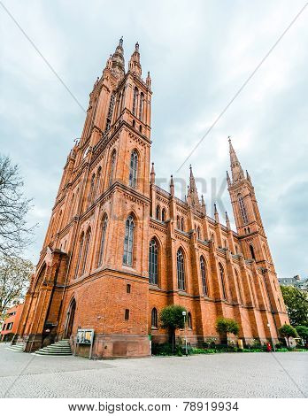 Perspective view on Marktkirche in Wiesbaden, Germany.