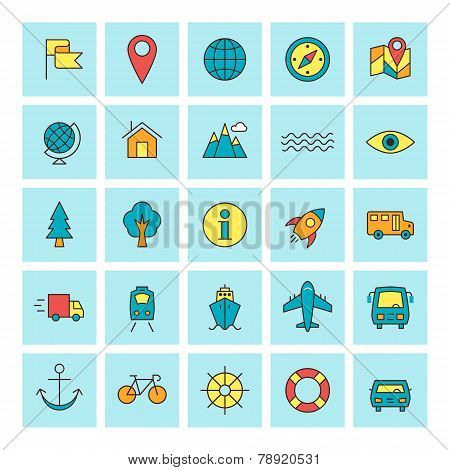 Travel And Transportation. Vector Icon Set In Flat Design Style. For Web Site Design And Mobile Apps