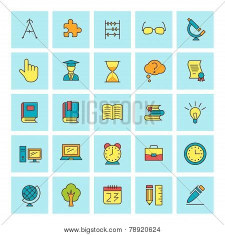 School And Education. Vector Icon Set In Flat Design Style. For Web Site Design And Mobile Apps.
