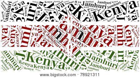 National Flag Of Kenya. Word Cloud Illustration.
