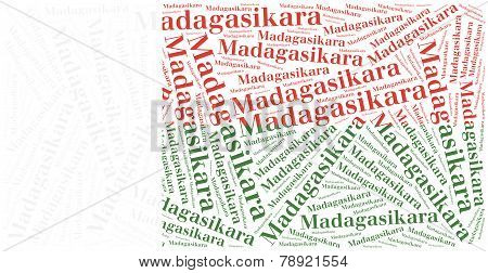 National Flag Of Madagascar. Word Cloud Illustration.