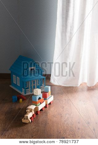 Wooden Toys On The Floor