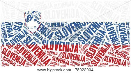 National Flag Of Slovenia. Word Cloud Illustration.
