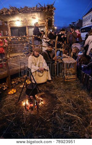 ZAGREB, CROATIA - JANUARY 04, 2014: The religious spirit in the Advent in Zagreb especially can feel the front of the Cathedral, where Community Cenacolo organizes live Christmas nativity scene.