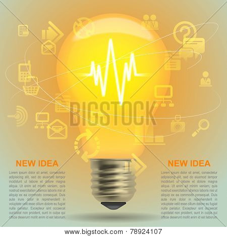 Lightbulb idea symbol. Modern design template and business concept. Vector illustration