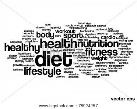 Vector concept or conceptual abstract diet and health word cloud or wordcloud on white background