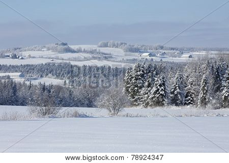 Beautiful countryside winter landscape