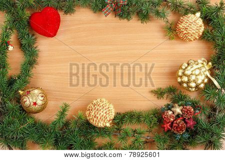 Christmas Decoration With Fir Tree  And Ornamentals With Stars Effect