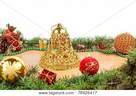 Wonderful Christmas Decoration With Fir Tree , Golden Bell And Ornamentals