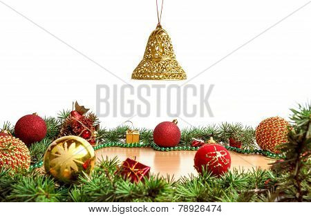 Wonderful Christmas Decoration With Fir Tree , Golden Bell In Air