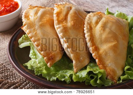 Empanadas On A Plate With Lettuce And Sauce Close Up On The Table.