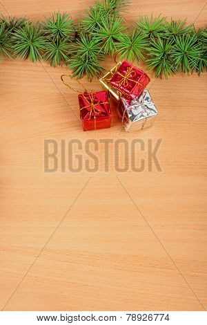 Wonderful Christmas Decoration With Fir Tree And Yellow Silver And Red Gifts Or Presents