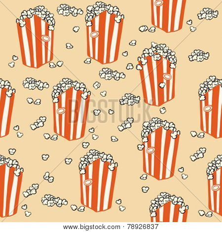 popcorn seamless pattern cartoon illustration