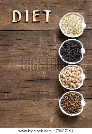 Cereals And Legumes In Bowls And Word Diet