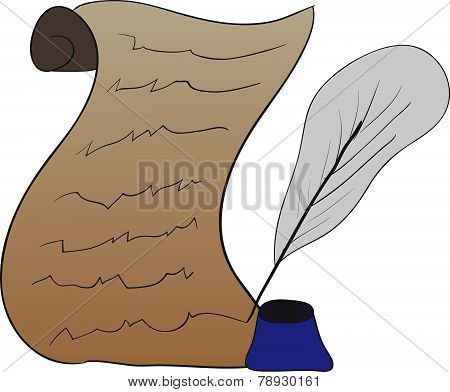 Vector Drawing Of The Scroll And Ink