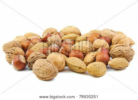 Mixed nuts, walnuts, almonds and hazelnuts