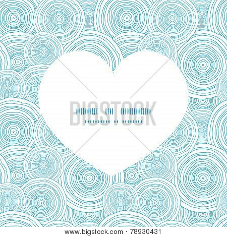 Vector doodle circle water texture heart silhouette pattern frame