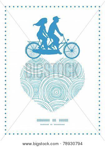 Vector doodle circle water texture couple on tandem bicycle heart silhouette frame pattern greeting