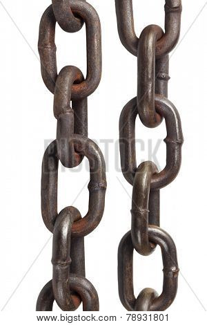 Old Metal Chains On White Background