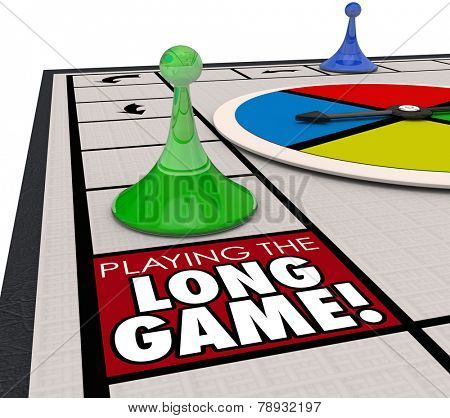 A player moving a game piece around the board to land on a square marked Playing the Long Game to illustrate investing for the long term future for better returns and winning in life