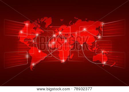 World Map Geography World Order Background Shipping Red
