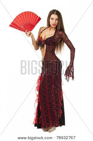 Sexy Woman traditional Spanish Flamenco dancer dancing in a red dress with a white fan