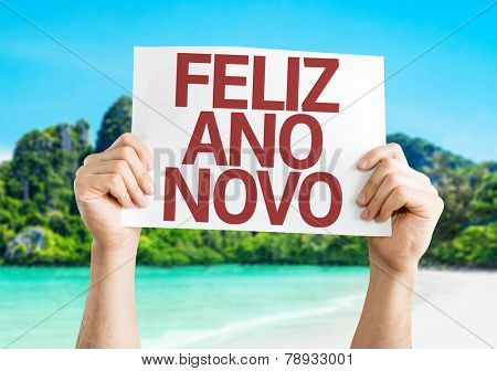 Happy New Year 2015 (In Portuguese) card with a beach on background