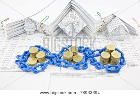 Pile Of Gold Coins In Blue Plastic Chain