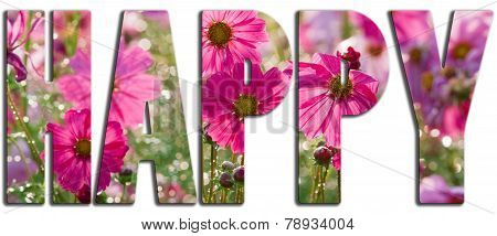 Happy Text Filled With Pink Flowers