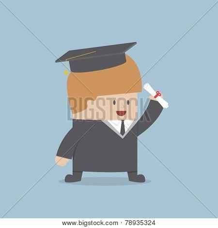 Businessman Graduate In Gown And Graduation Cap