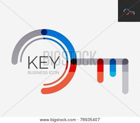 Minimal line design logo, business key icon, branding emblem