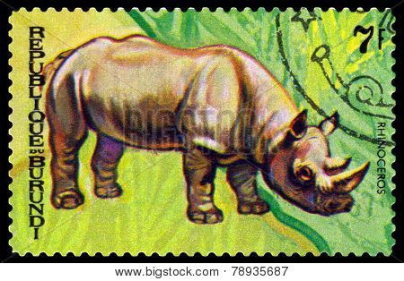 Vintage  Postage Stamp. Animals Burundi,  Rhinoseros. 1.