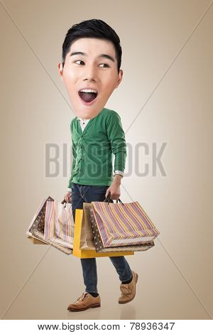 Funny shopping Asian guy, full length portrait.
