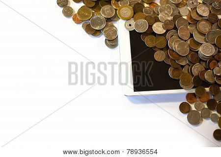 Scattered Pennies with Space for Text