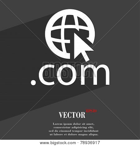 Domain Com Icon Symbol Flat Modern Web Design With Long Shadow And Space For Your Text. Vector
